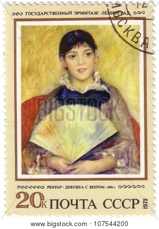 Ussr - Circa 1973: A Stamp Printed By Ussr Shows A Picture Girl With Fan, By Auguste Renoir, 1881, S