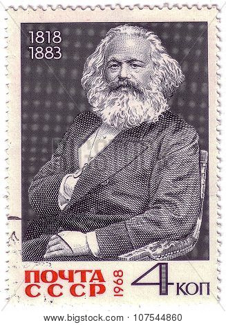 Ussr - Circa 1968: A Stamp Printed In Ussr, Shows The Karl Marks Portrait (1818-1883), Circa 1968