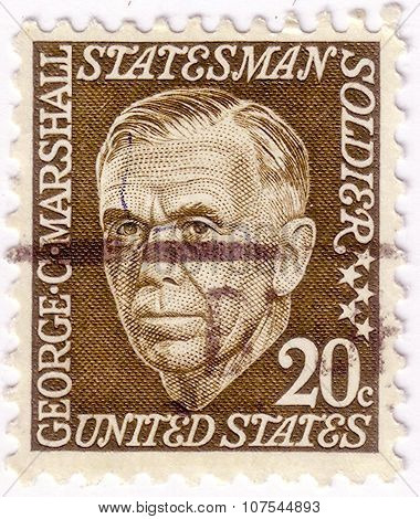 Usa - Circa 1967: A Stamp Printed In Usa Shows George Catlett Marshall, Jr. (1880-1959), American So