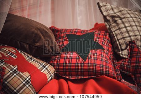 Christmas And New Year Decoration On Tartan Background