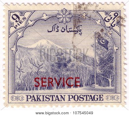 Pakistan - Circa 1952: A Stamp Printed In Pakistan Shows Image Of A Mountainous Landscape, Series, C
