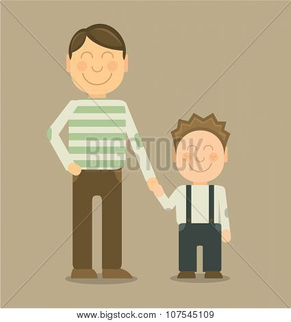 Vector Happy father and son smiling and holding their hands