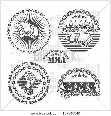 MMA mixed martial arts emblem badges - vector set.