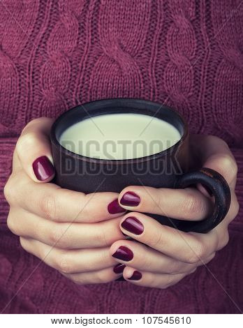 Female Hands With A Cup Of Warm Milk