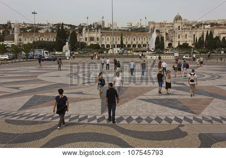 People Walking On The Floor Wind Rose Of Belem