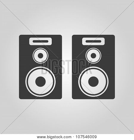 The audio icon. Speaker and music, sound, stereo symbol. Flat