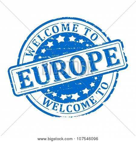 Damage To Blue Stamp With The Words - Welcome To Europe - Illustration
