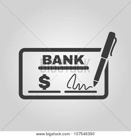 The check icon. Checkbook and cheque, pay, payment, paying symbol. Flat