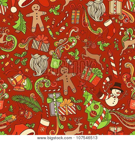 Seamless Colorful Christmas Pattern.