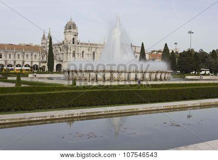 External Garden Of Jeronimos Monastery In Lisbon