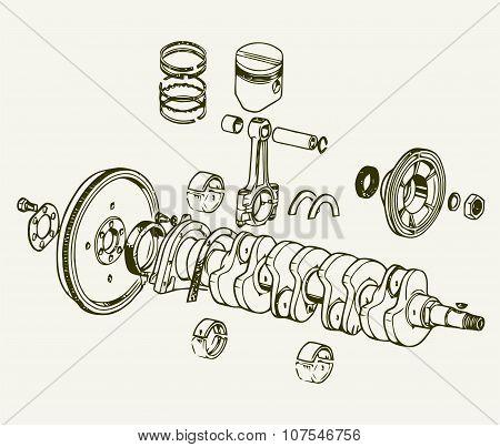 Drawing old engine, Crankshaft assembly. Vector Background