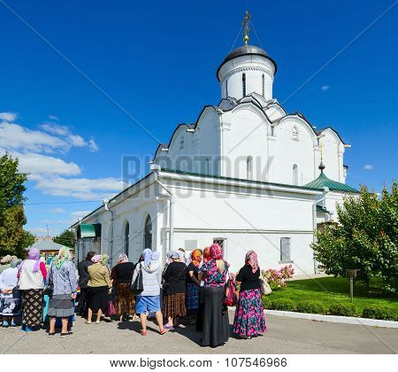 Group Of Pilgrims Near Cathedral Of Assumption Of Holy Dormition Knyaginin Nunnery, Vladimir