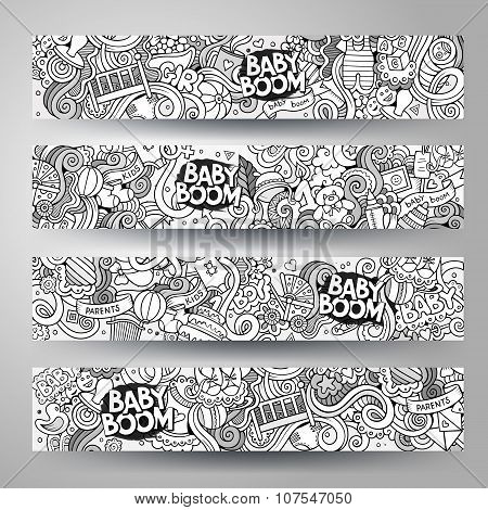 Cartoon vector hand-drawn sketchy baby boom doodles banners