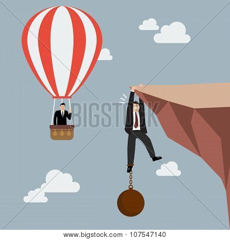 Businessman In Hot Air Balloon Fly Pass Businessman Hold On The Cliff With Burden
