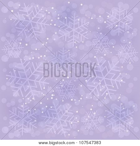 Abstract Lavender Background With Snowflakes