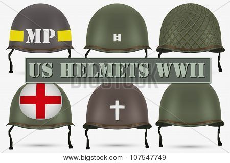 Set of Military US helmets M1 WWII