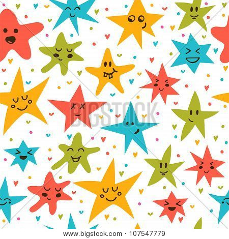Seamless Pattern With Funny Little Stars. Stylish Background With Hand Drawn Stars