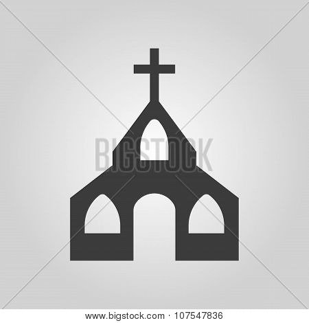 The church icon. Christian and god, catholic, faith symbol. Flat