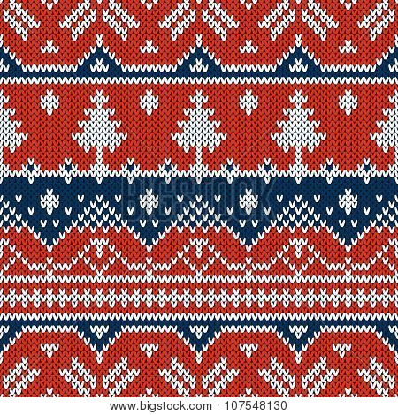 Vector seamless ornament on the knitted texture