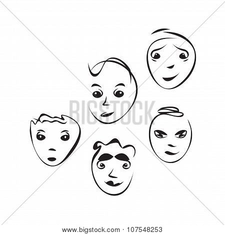 Cartoon facial expressions set