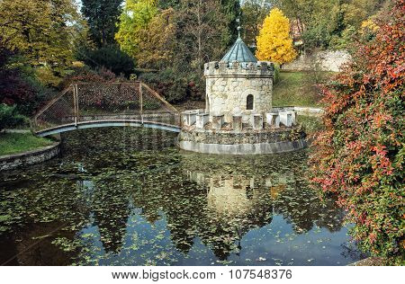 Turret In Bojnice, Slovakia, Autumn Park, Seasonal Colorful Natural Scene With Lake