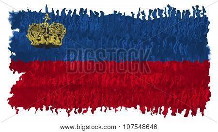 Flag of Liechtenstein painted brush on solid background, paint texture