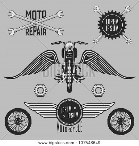 Vintage set of motorcycle signs, labels and design elements.
