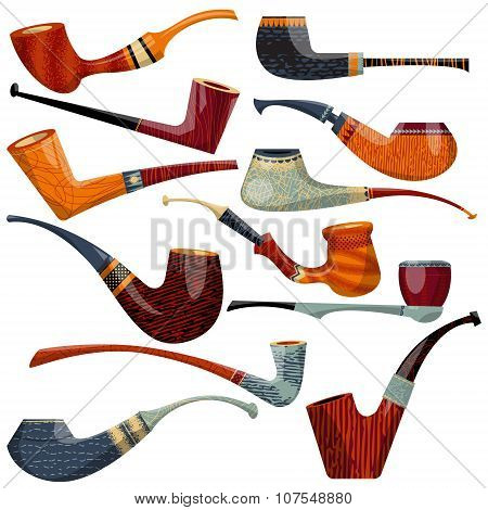 12 Multi-colored Tobacco Pipes Of Diferent Shapes.