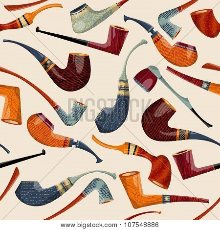 Multi-colored Tobacco Pipes Of Diferent Shapes. Seamless Background Pattern.