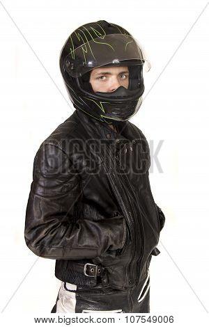 Teenage Boy With Crash Helmet