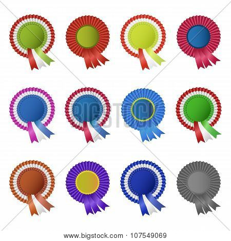 Set Of Blank Award Rosettes With Ribbon
