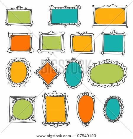 Set Of Hand Drawn Frames. Cute Design Elements. Sketchy Ornamental Frames