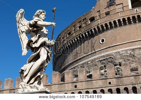 One Of The Angels At The Famous Sant  Angelo Bridge, Rome, Italy.
