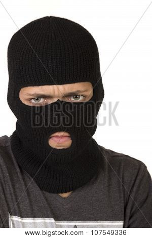 Teenage Boy Wearing A Ski Mask