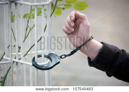 Closeup Of Hand Being Handcuffed
