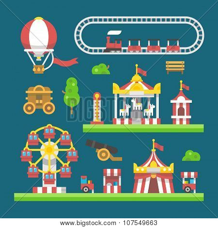 Flat Design Carnival Amusement Park