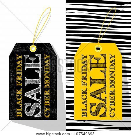 2 Labels Template For Black Friday And Cyber Monday. Shopping Sale Concept.