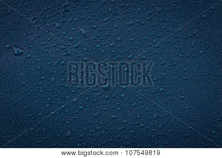 Blue Leather With Water Droplets
