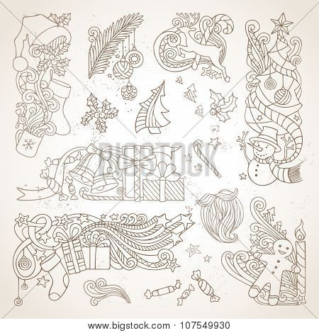 Vector Set Of Sepia Hand-drawn Christmas Ornaments.