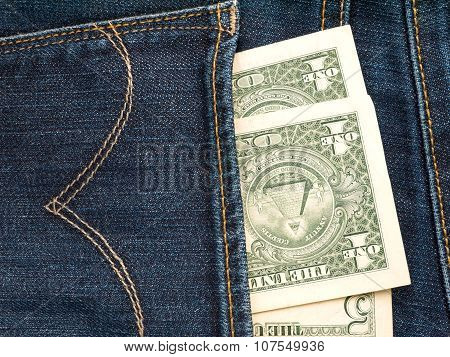 Usa Dollar Banknotes In The Jeans Rear Pocket