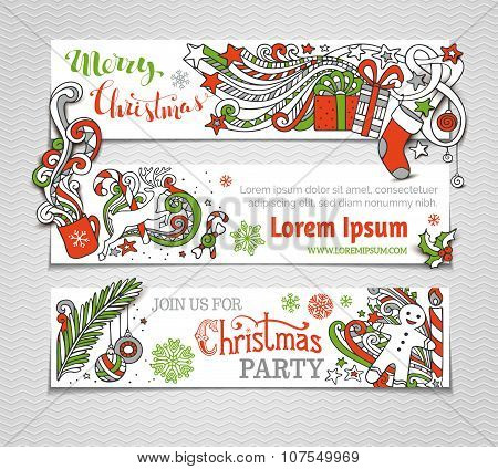 Vector Set Of Red, Green And White Christmas Banners.
