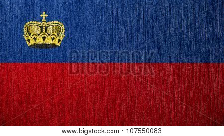 Flag of Liechtenstein painted on metal texture