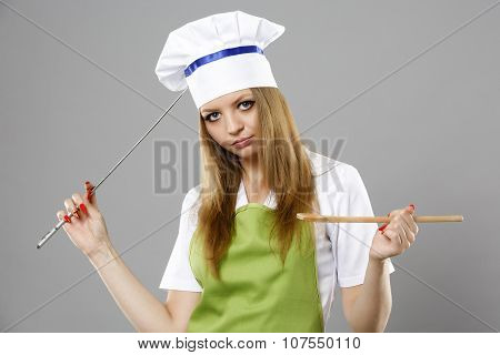 Chef woman thinking about what to cook