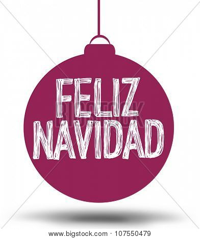 Christmas card with typography bubble. Text: Feliz Navidad (Spanish)