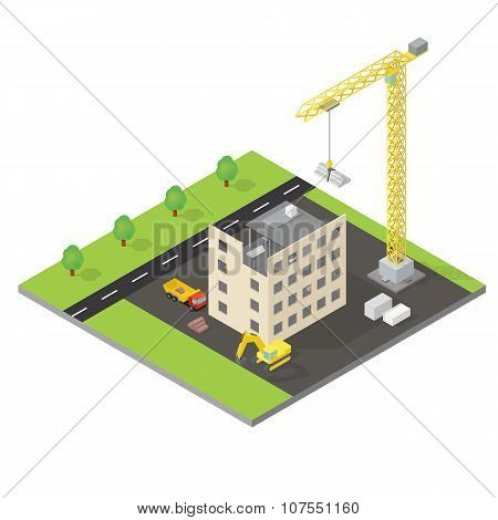 Isometric house under construction