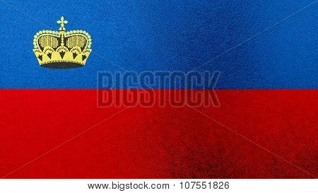 Flag of Liechtenstein painted on glass texture