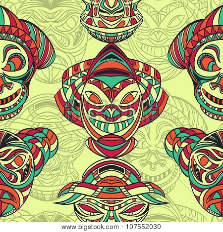 Seamless pattern with collection of Tribal mask with aztec geometric latin American ornament. Retro