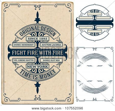 Old card design with elements by layers. Vector