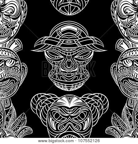 Seamless pattern with collection of Tribal mask. Retro black and white highly detailed hand drawn ve