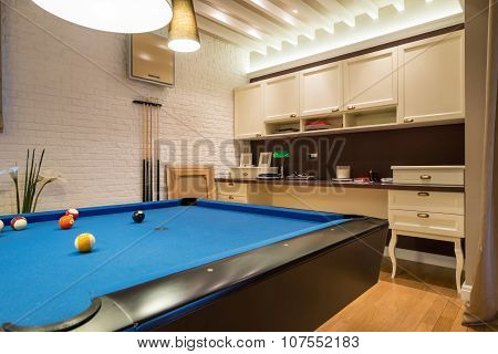 Interior Of A Living Room With Pool Table